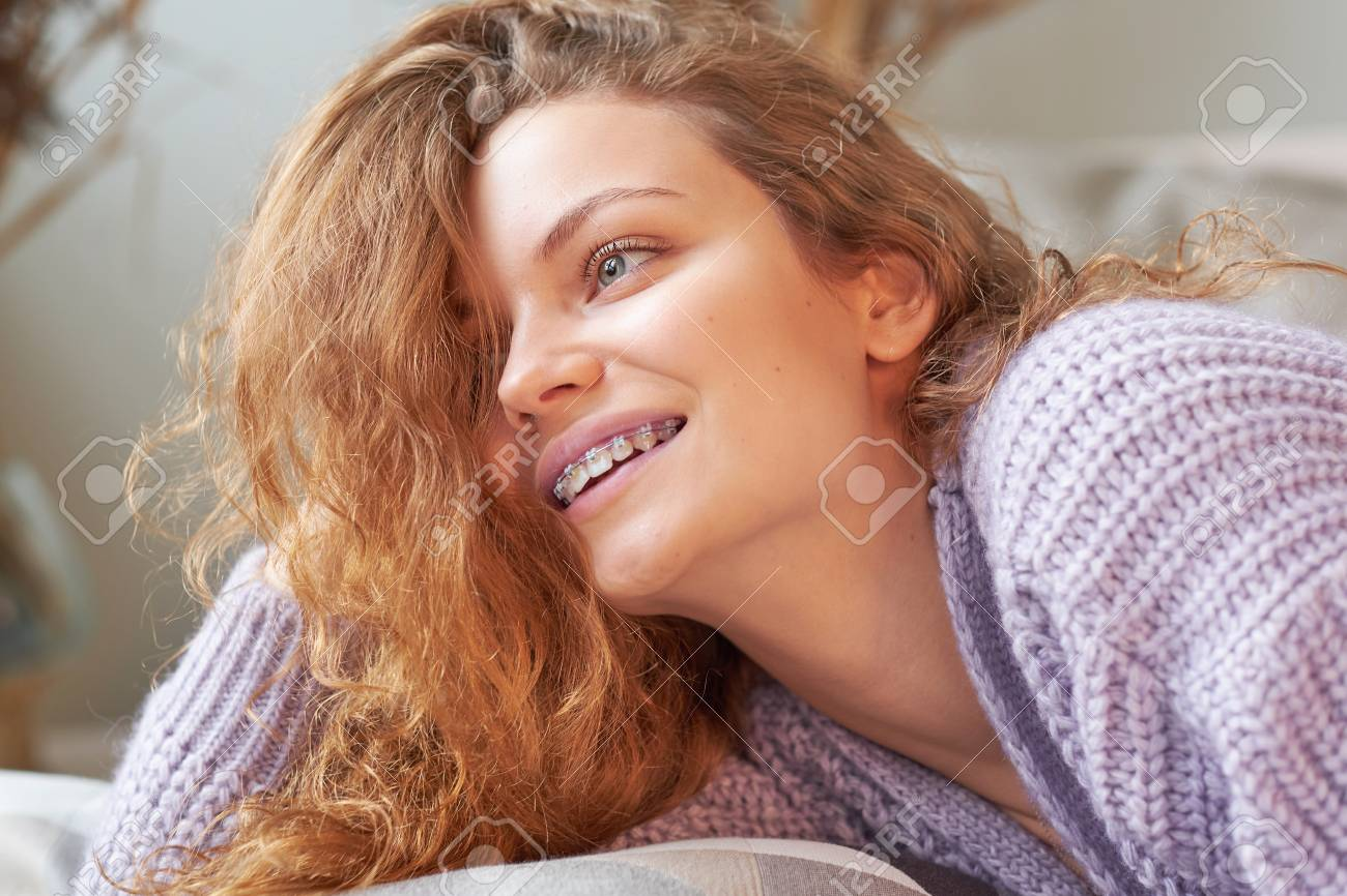portrait of a beautiful smiling girl with braces. natural beauty. Stock  Photo - 114339399 3ee9e52f5