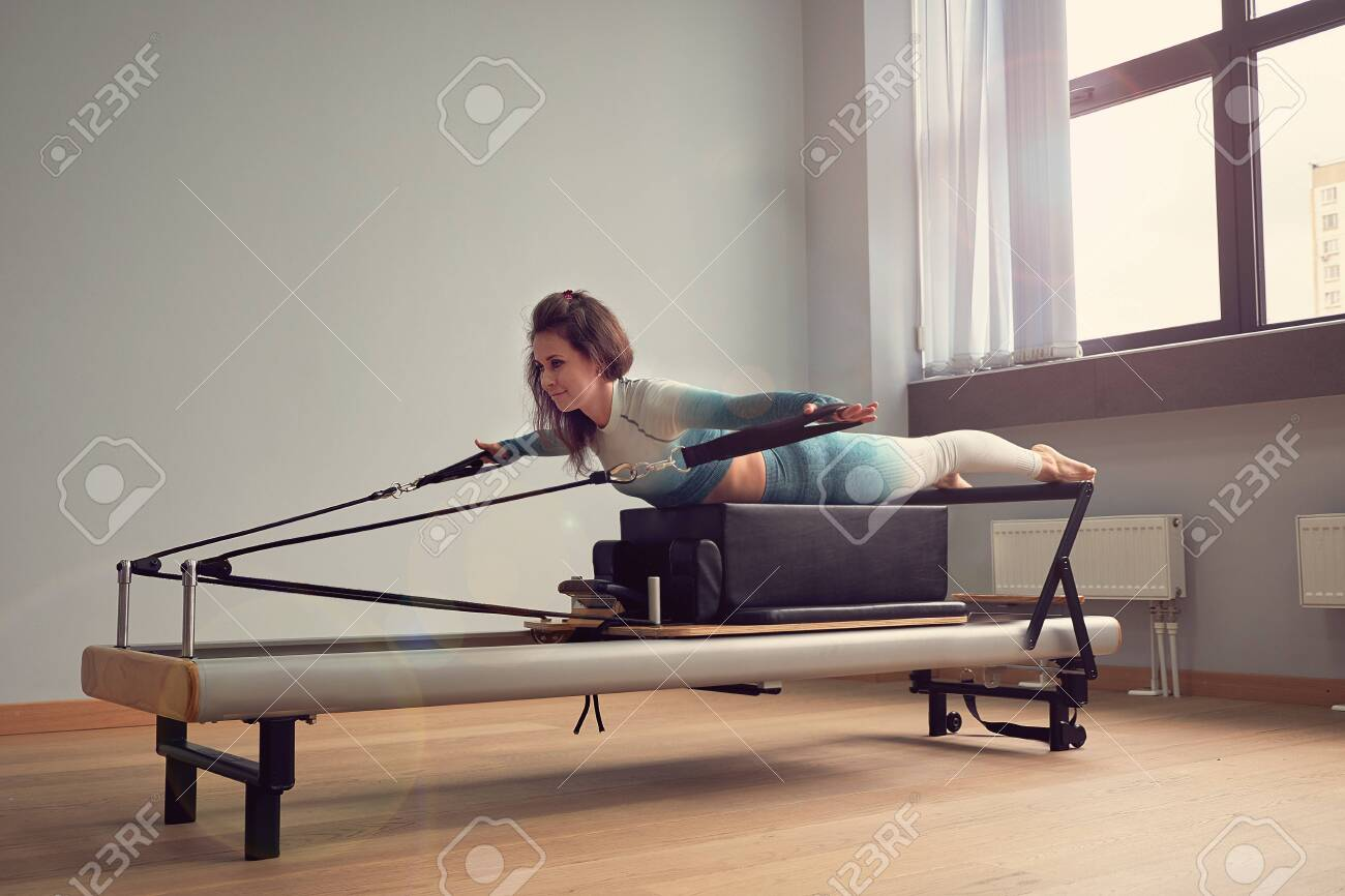Leotard Workout Pilates Training Athletic Pilates Reformer Exercises Stock Photo Picture And Royalty Free Image Image 133157299
