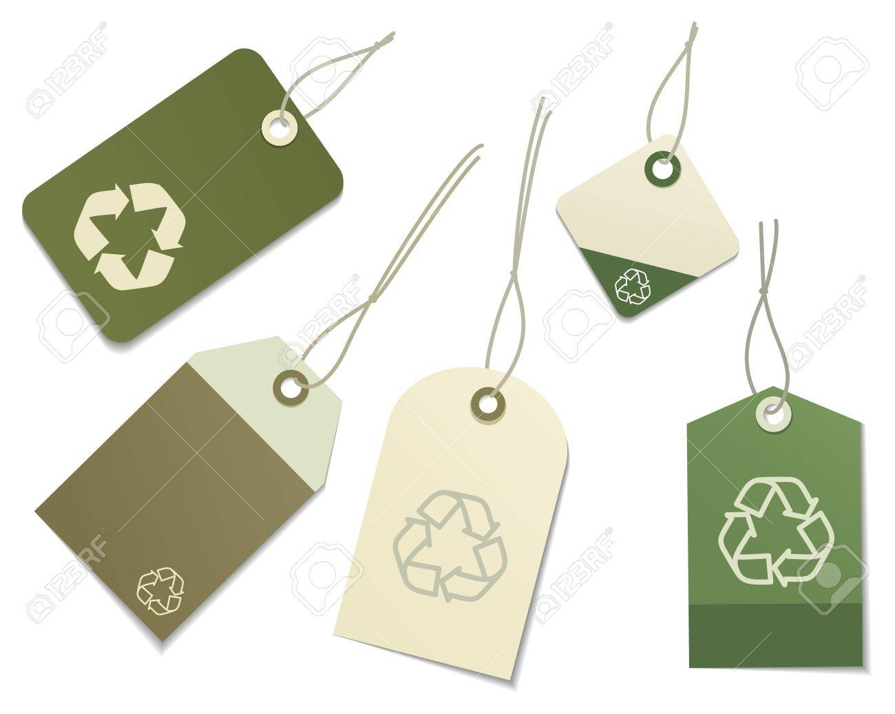 The five labels with eco symbol Stock Vector - 10436420