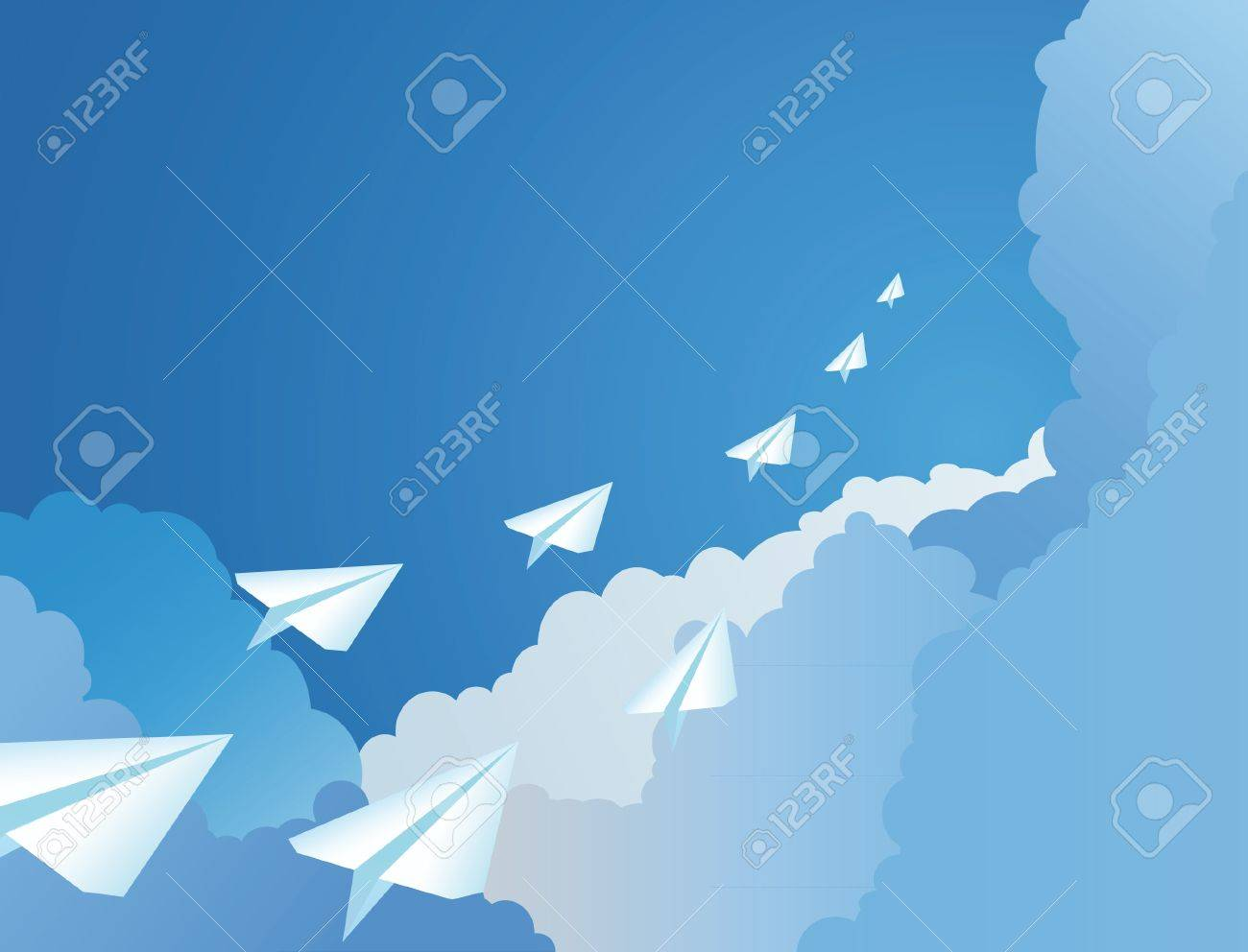The paper airplanes flying in a sky Stock Vector - 10436336