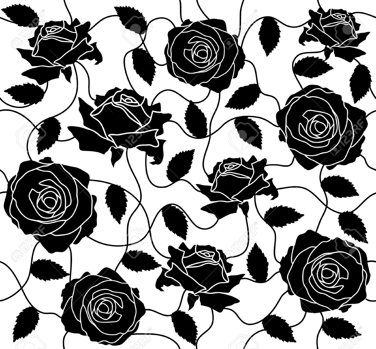 The Seamless Of A Black Roses And Leafs Royalty Free Cliparts