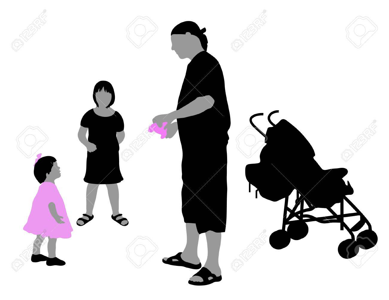 The silhouettes of family Stock Vector - 10436316