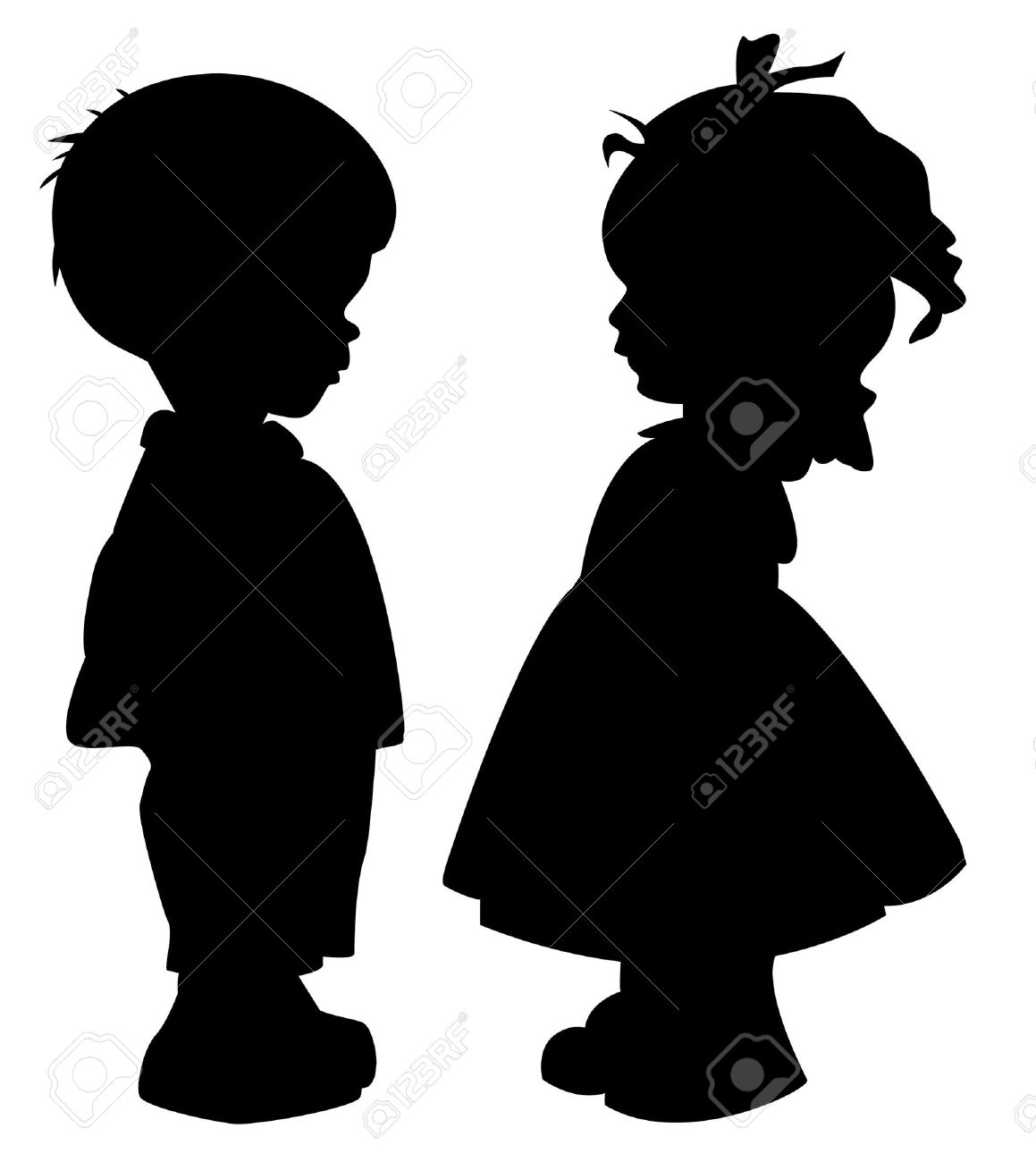 The two silhouette of a boy and girl Stock Vector - 10436345