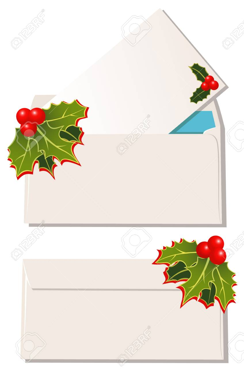 The envelopes with christmas design elements Stock Vector - 10764852