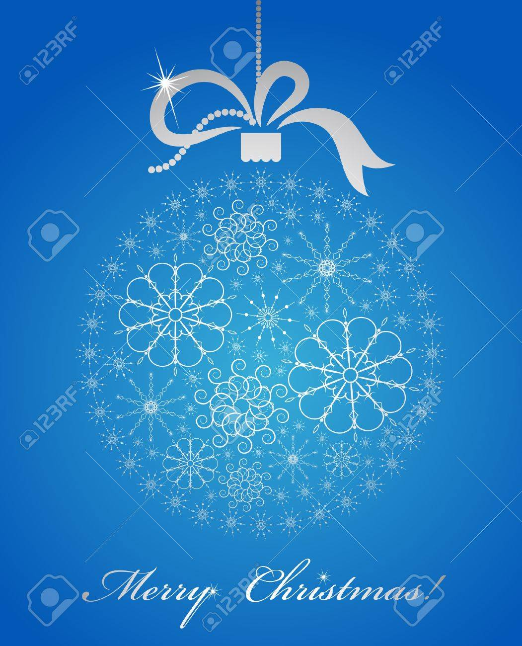 The decorative ball with snowflakes and bow Stock Photo - 11519146