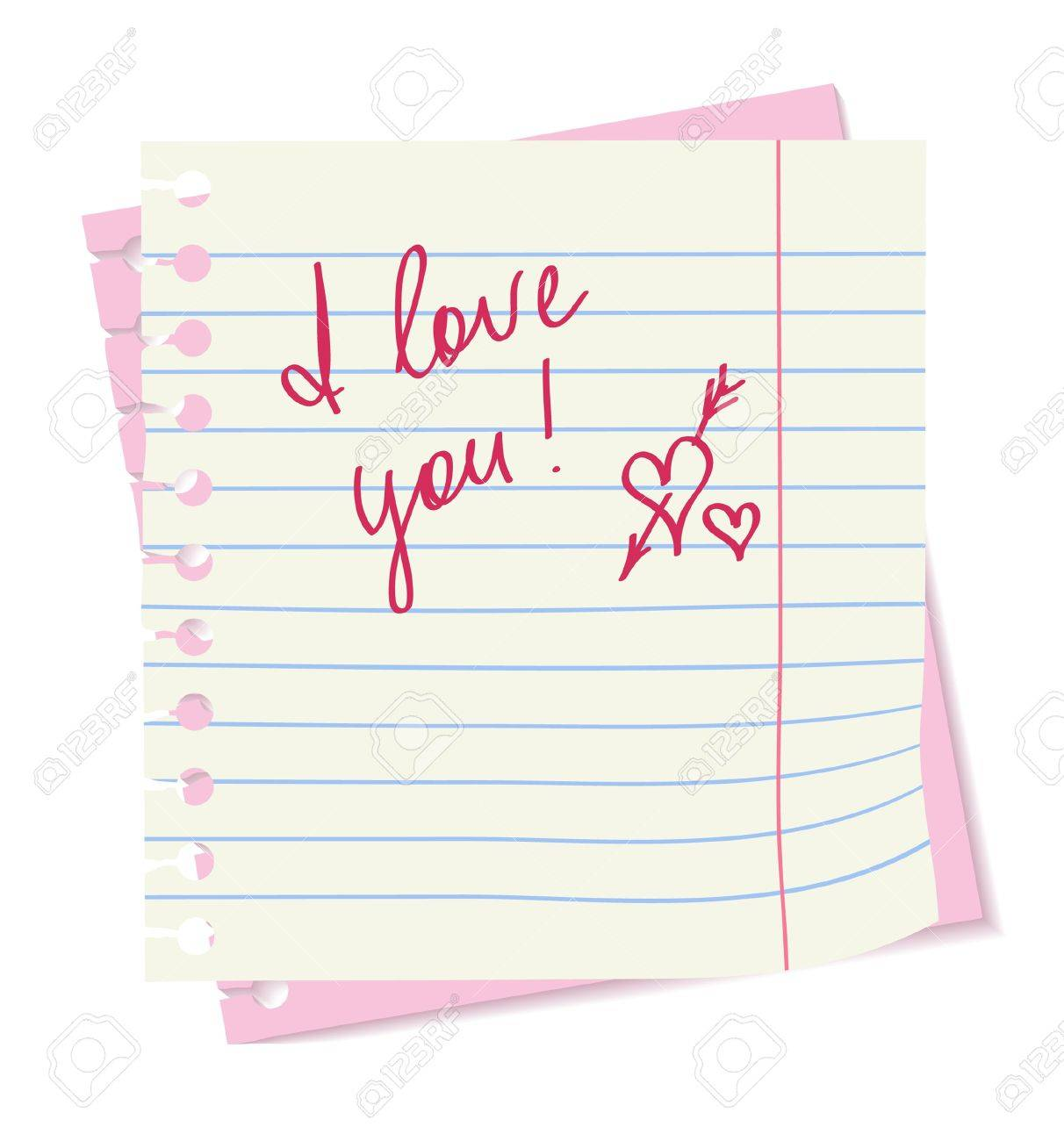 The paper sheets with love words Stock Vector - 12305888