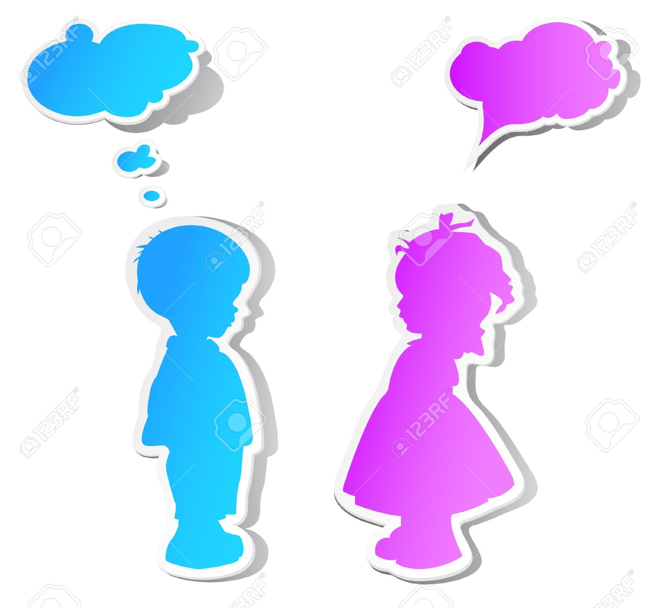 the children with color speech bubbles and shadow stock vector 12845173 - Children Color