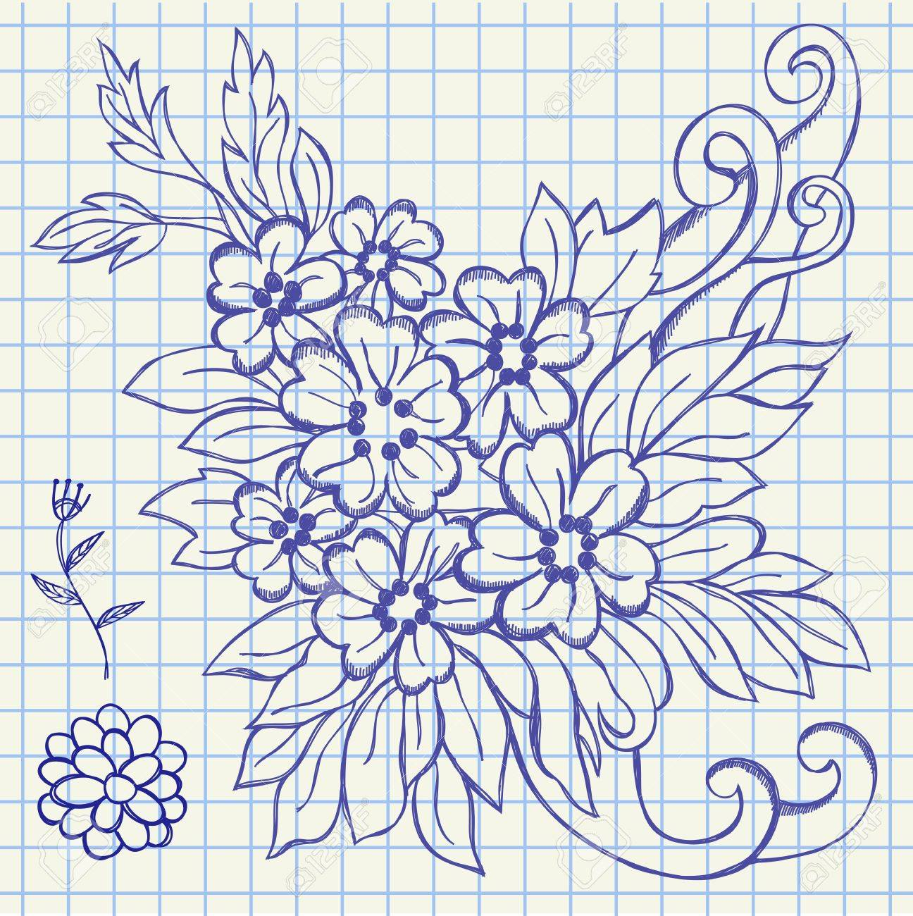 The hand drawing illustration of a flowers and leafs Stock Vector - 13192987