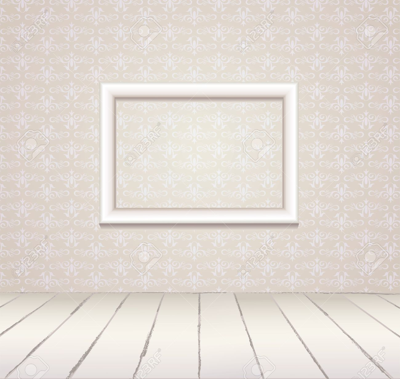 White Interior Of Vintage Room From Gray Grunge Wallpaper Wall ...