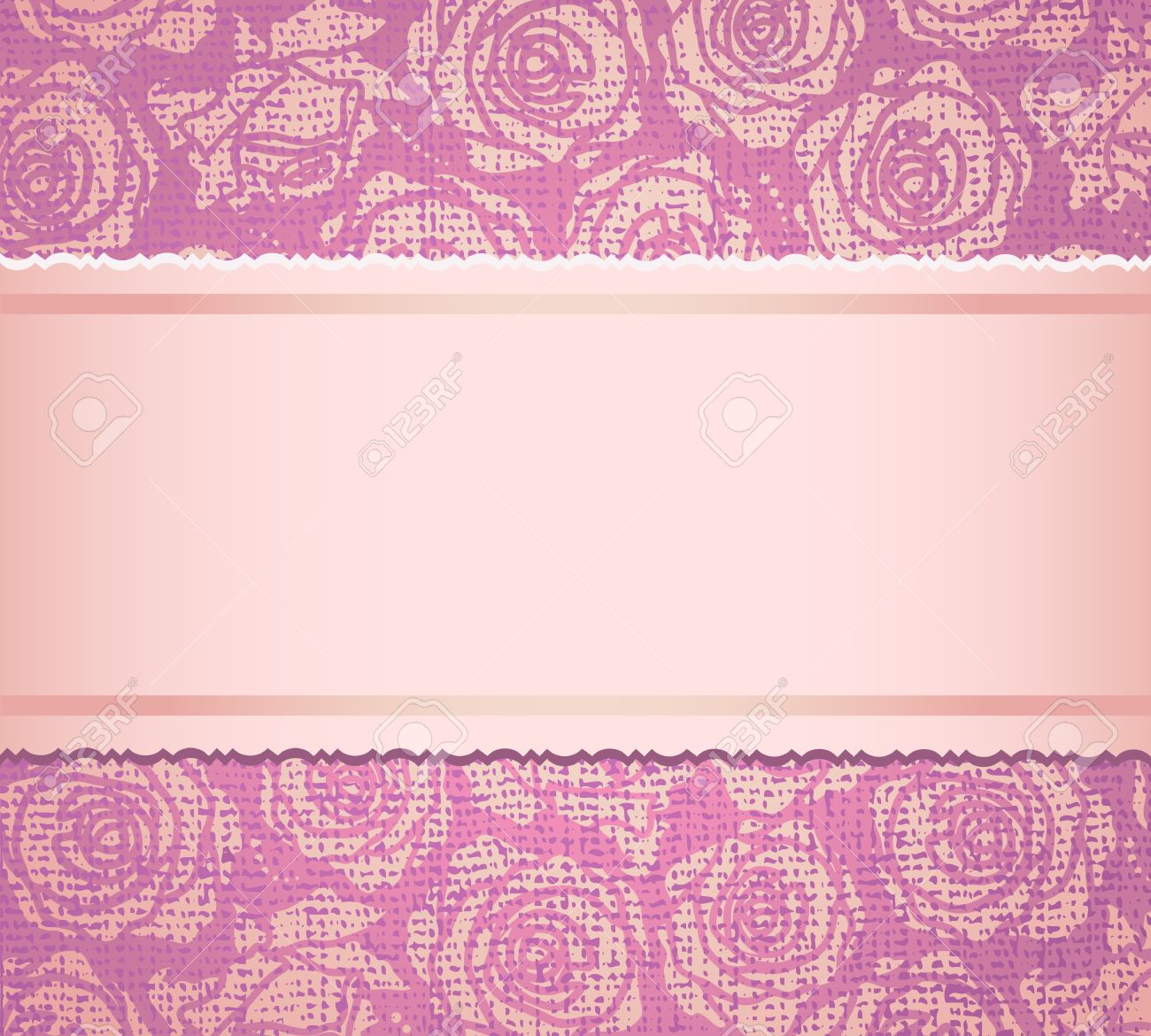 Ornate Background With Fabric Imitation With Pink Roses Invitation ...