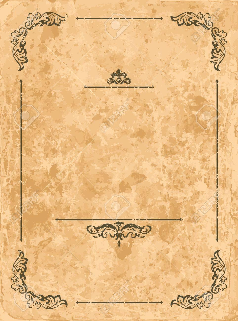 Vintage design elements on old paper sheet Stock Vector - 14976798