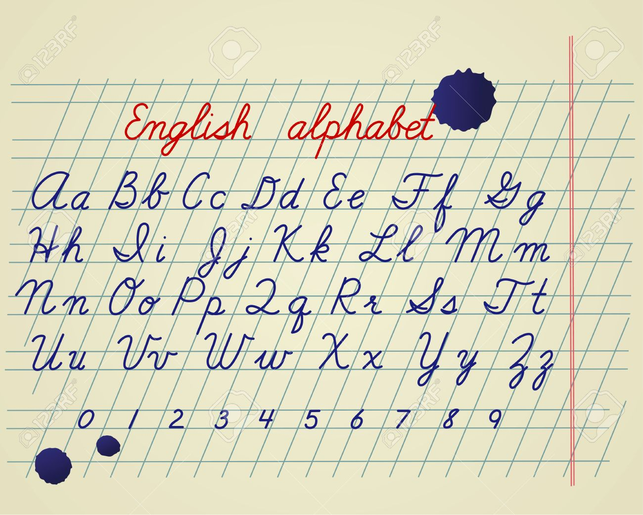 English Alphabet. Hand Drawing English Letters And Numbers On ...