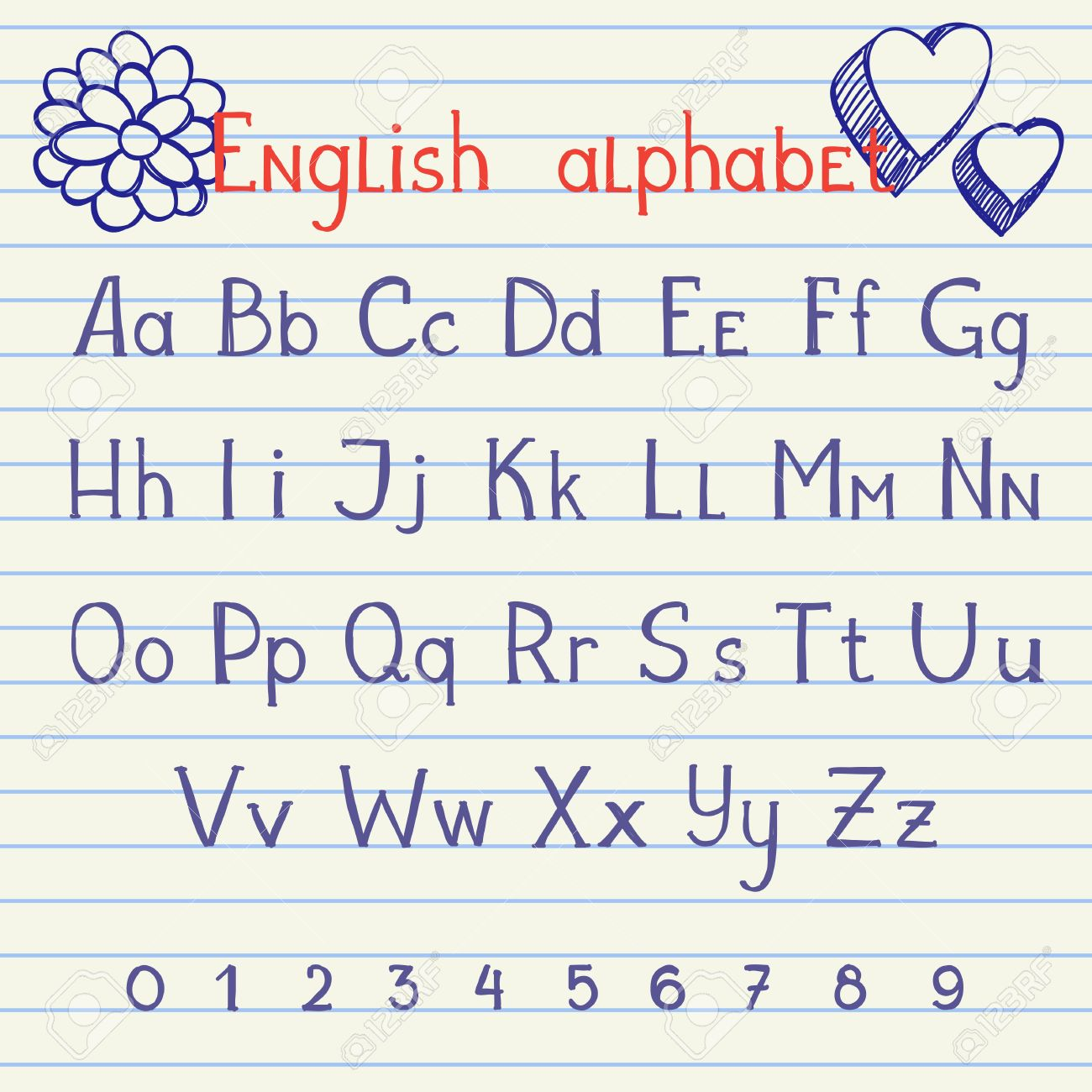 Hand Drawing English Letters And Numbers On School Notebook ...