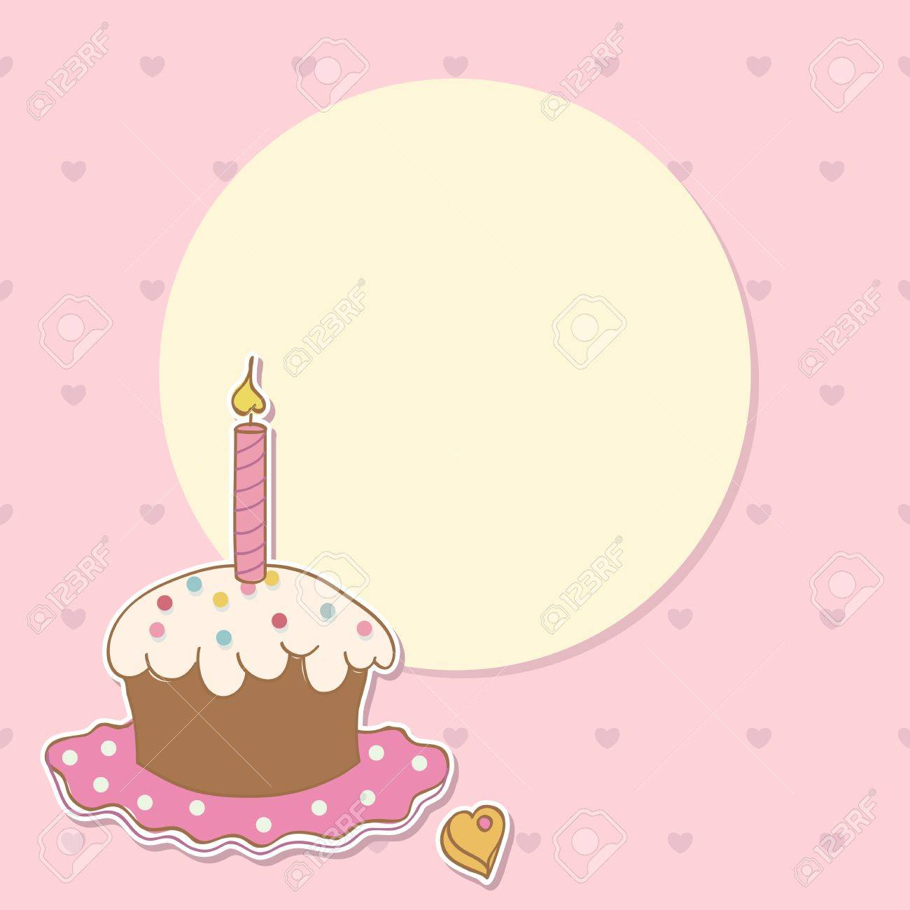 Invitation Card With Cake And Candle Birthday Background Royalty – Birthday Cards Backgrounds