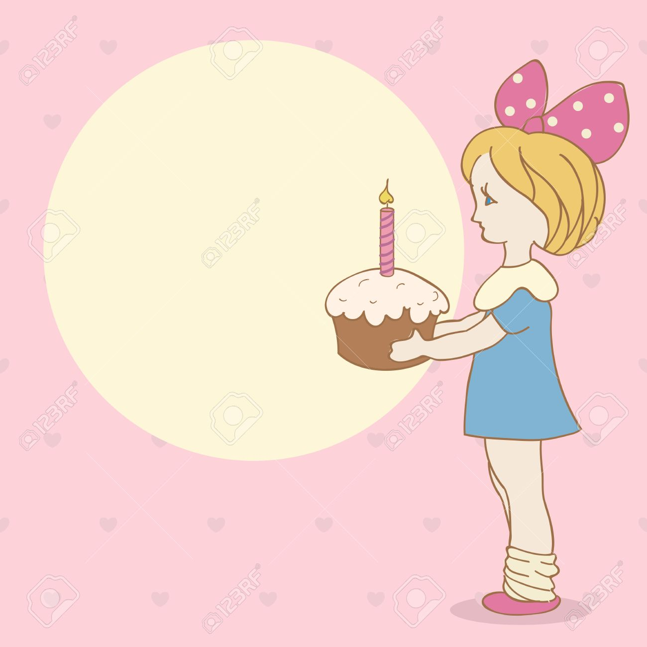 Invitation Card With Girl And Cake Birthday Background Royalty Free