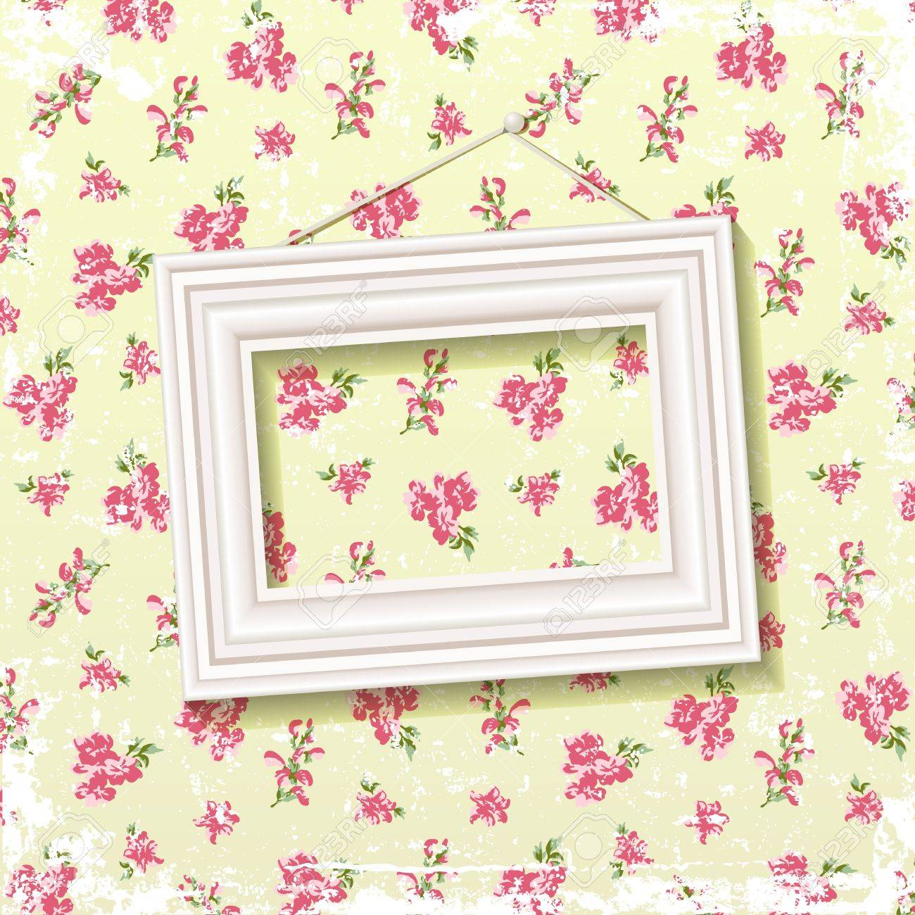 Picture frame on delicate floral background  EPS 10 blend mode used Stock Vector - 17758531