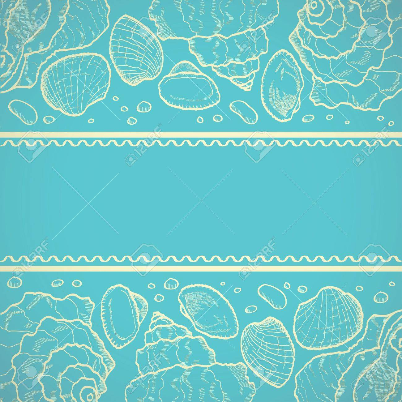 Sea card with drawing seashells on bllue background Stock Vector - 18976584