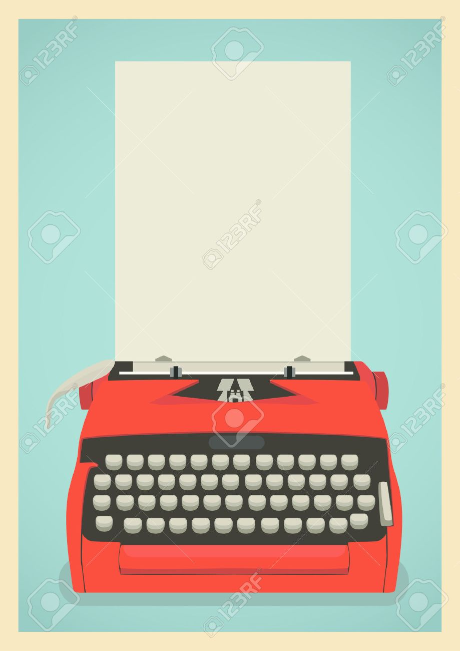 Mid Century Illustration With Retro Typewriter And Paper Sheet