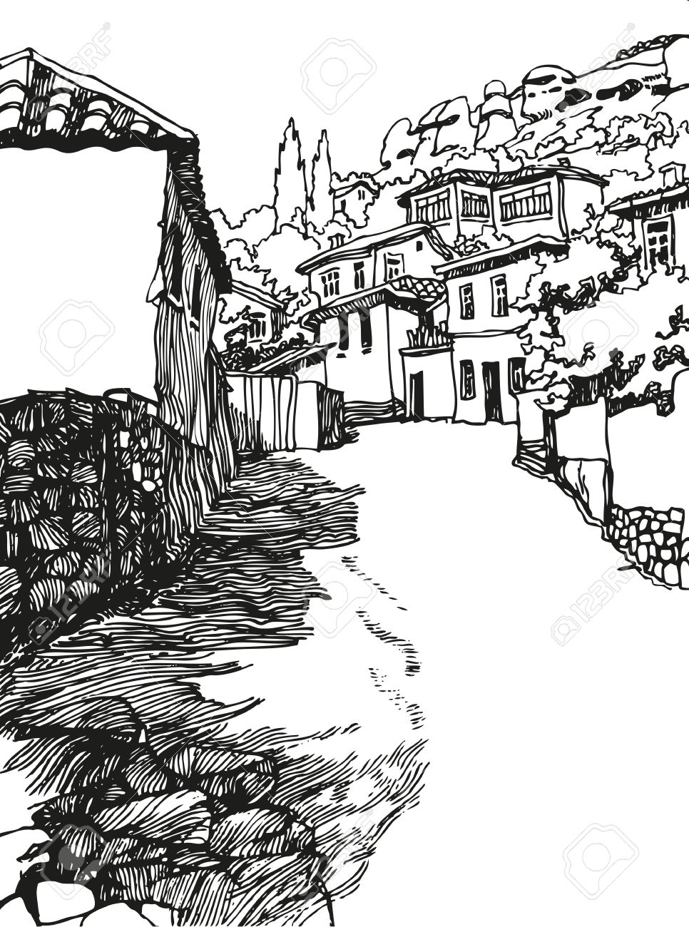 Illustration Of The Black And White Design Old City Sketch Hand Drawn