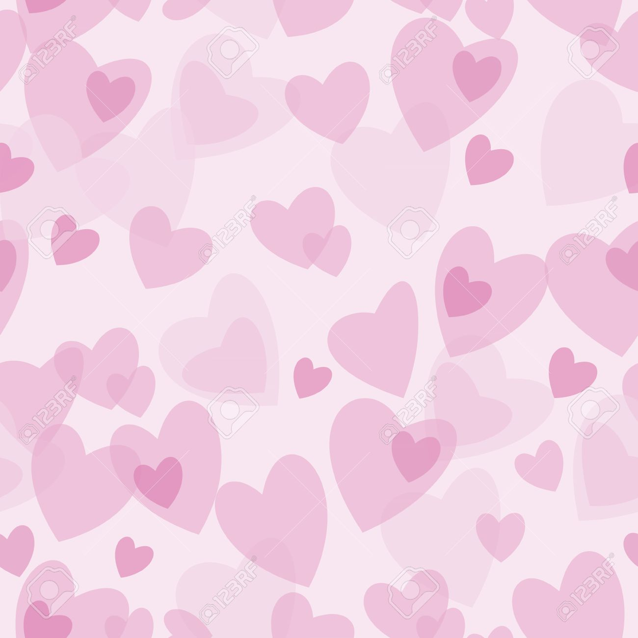 Seamless Abstract Pattern Red And Pink Hearts On White Background