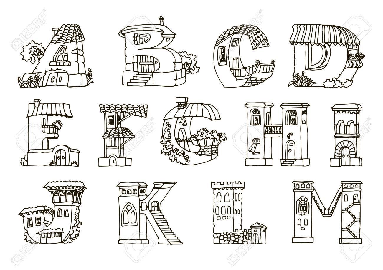 Alfabeto De La Lengua Inglés Letras En Casas De Forma Mano De