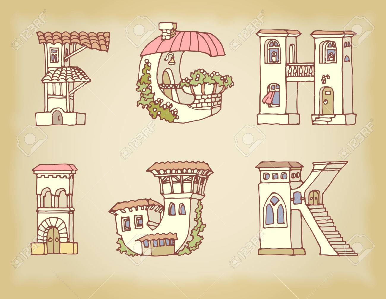 English Language Alphabet, Letters In Houses Shape. Hand Drawn Font With  Retro Style.