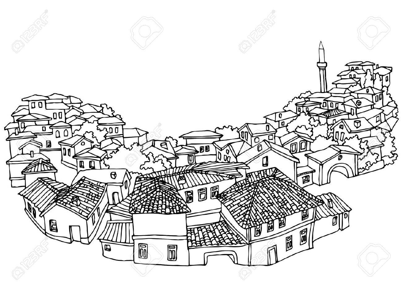 Top view on the old city street eastern city sketch hand drawn with