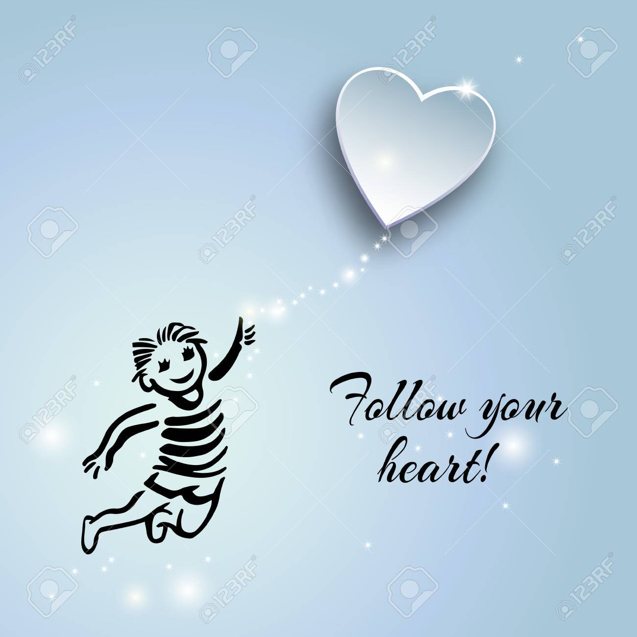 Inspirational Quote About Life And Love.Follow Your Heart!Hand ...