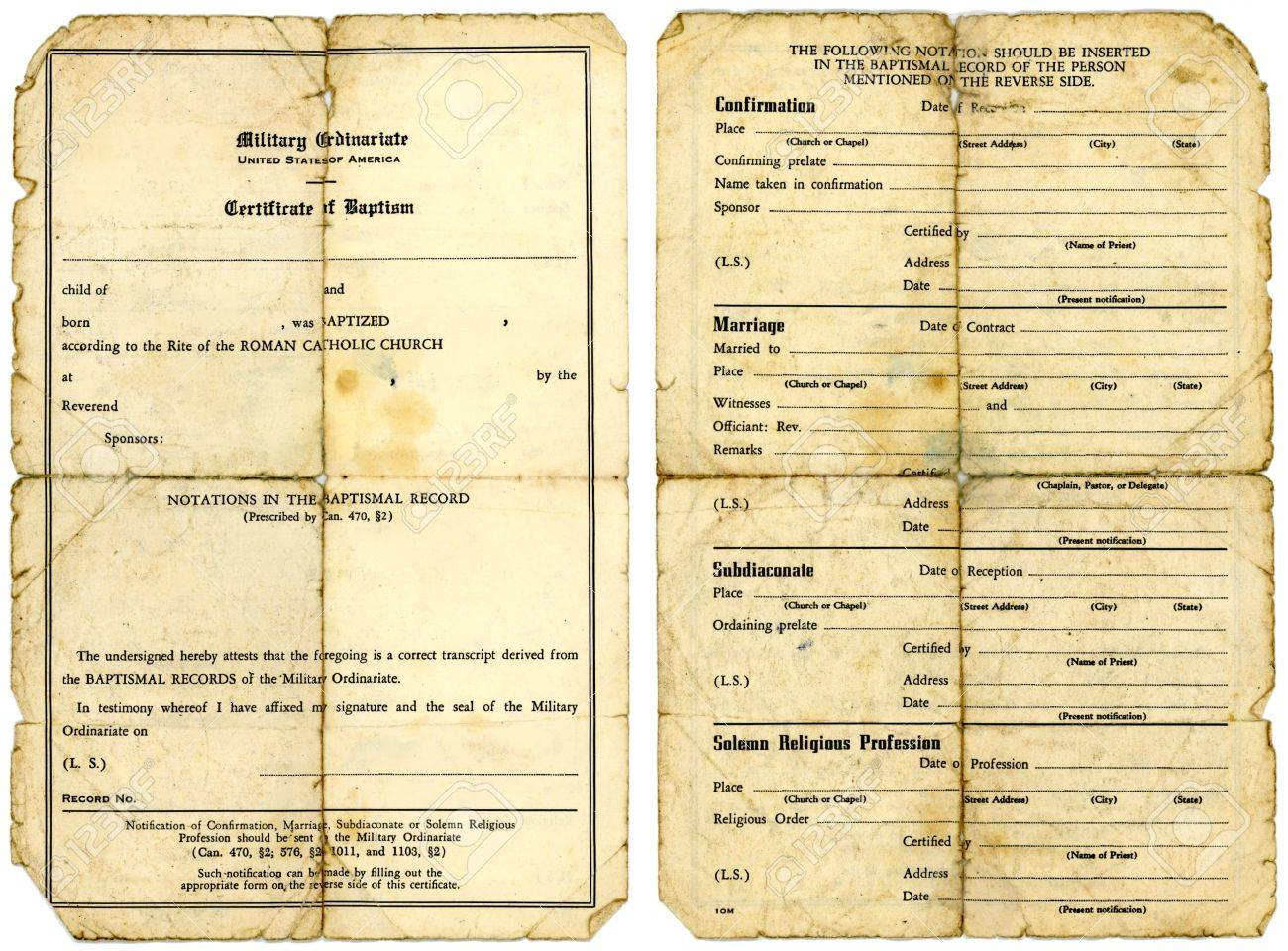 Grungy Old Catholic Military Baptismal Certificate Front And
