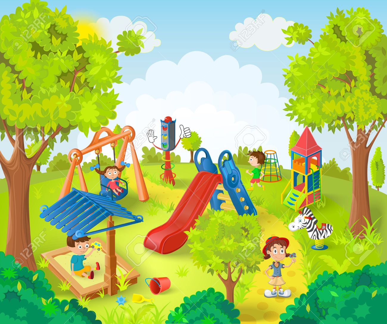 children playing in the park vector illustration royalty free rh 123rf com park clip art with dogs park clipart png