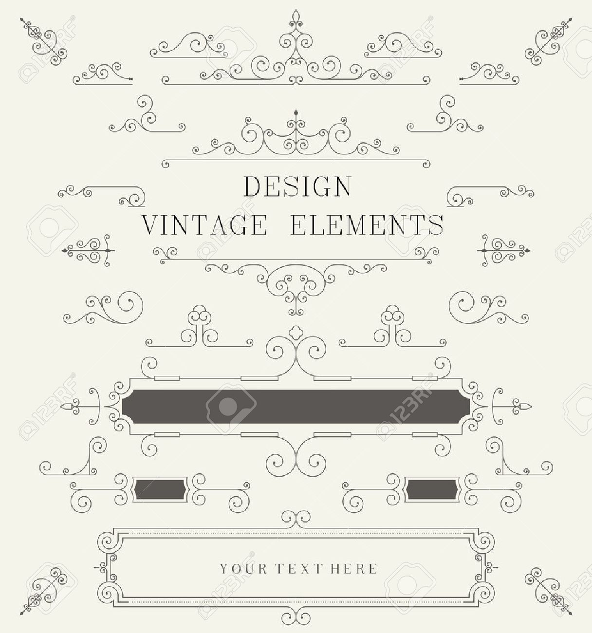 Vintage design template borders retro elements frame for vector vintage design template borders retro elements frame for invitation vector illustration stopboris Choice Image