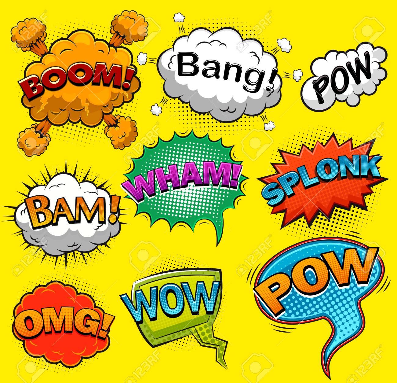 comic speech bubbles sound effects vector illustration royalty