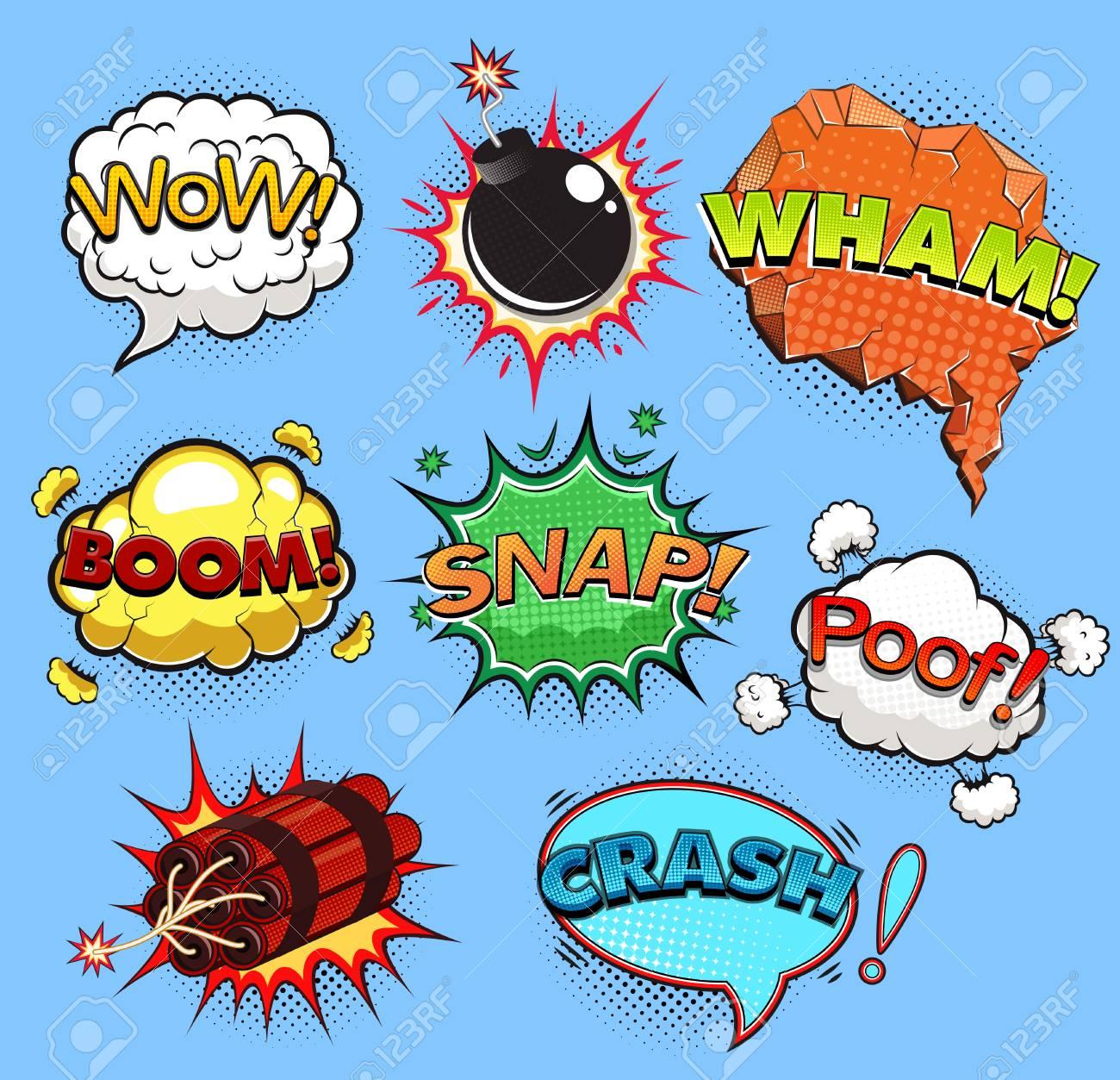 comic speech bubbles sound effects vector illustration