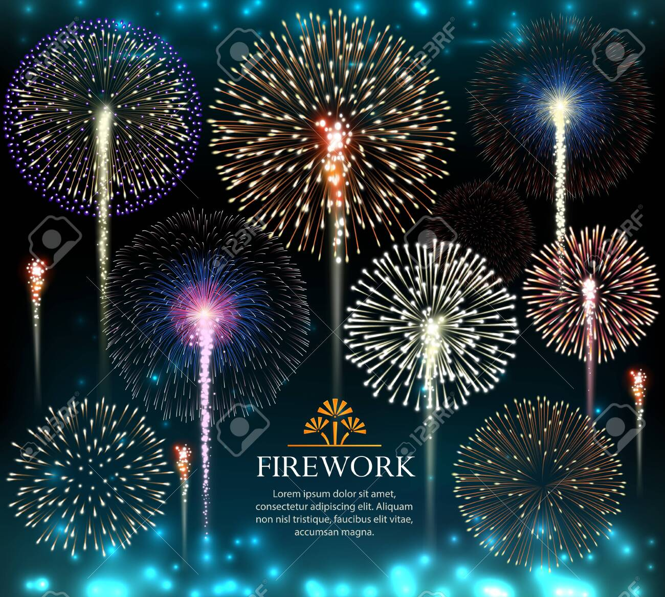 Set of fireworks, invitation to a holiday. Vector illustration - 136137615