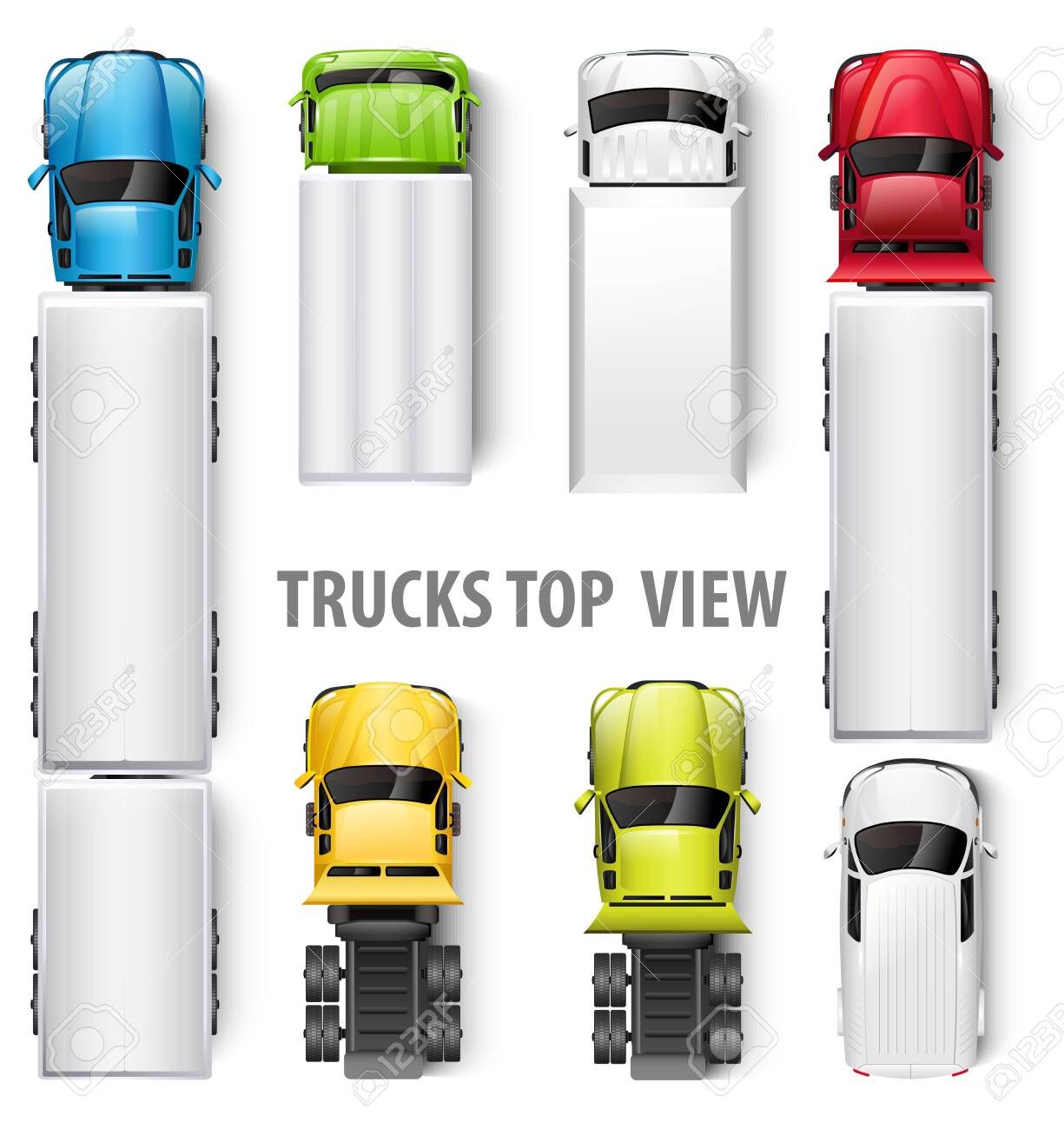 Trucks top view. Vector illustration - 141556416