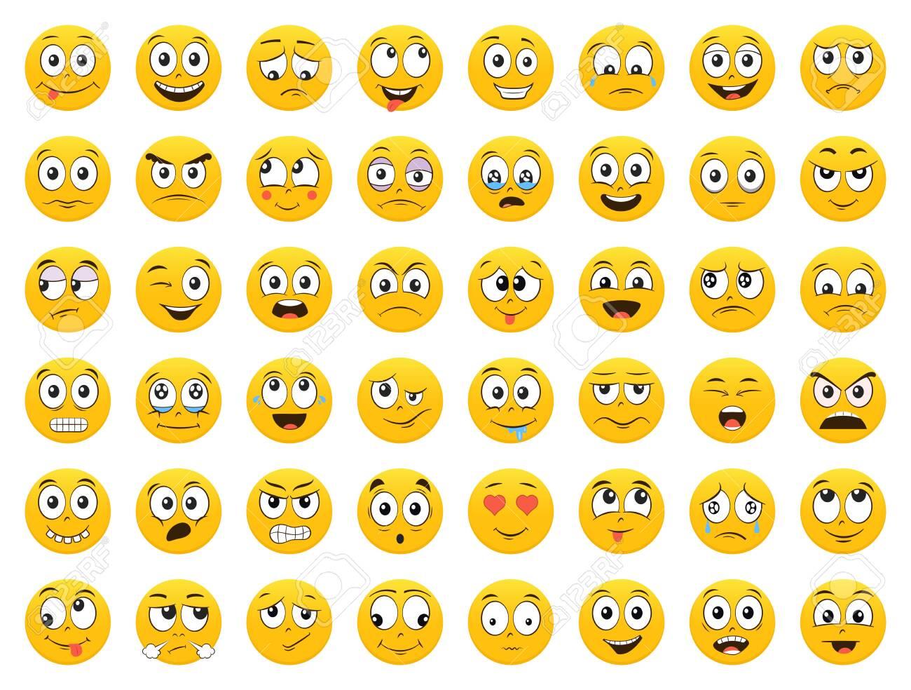 Set of Emoticons. Emoji. Smile icons. Isolated vector illustration on white background - 143247745
