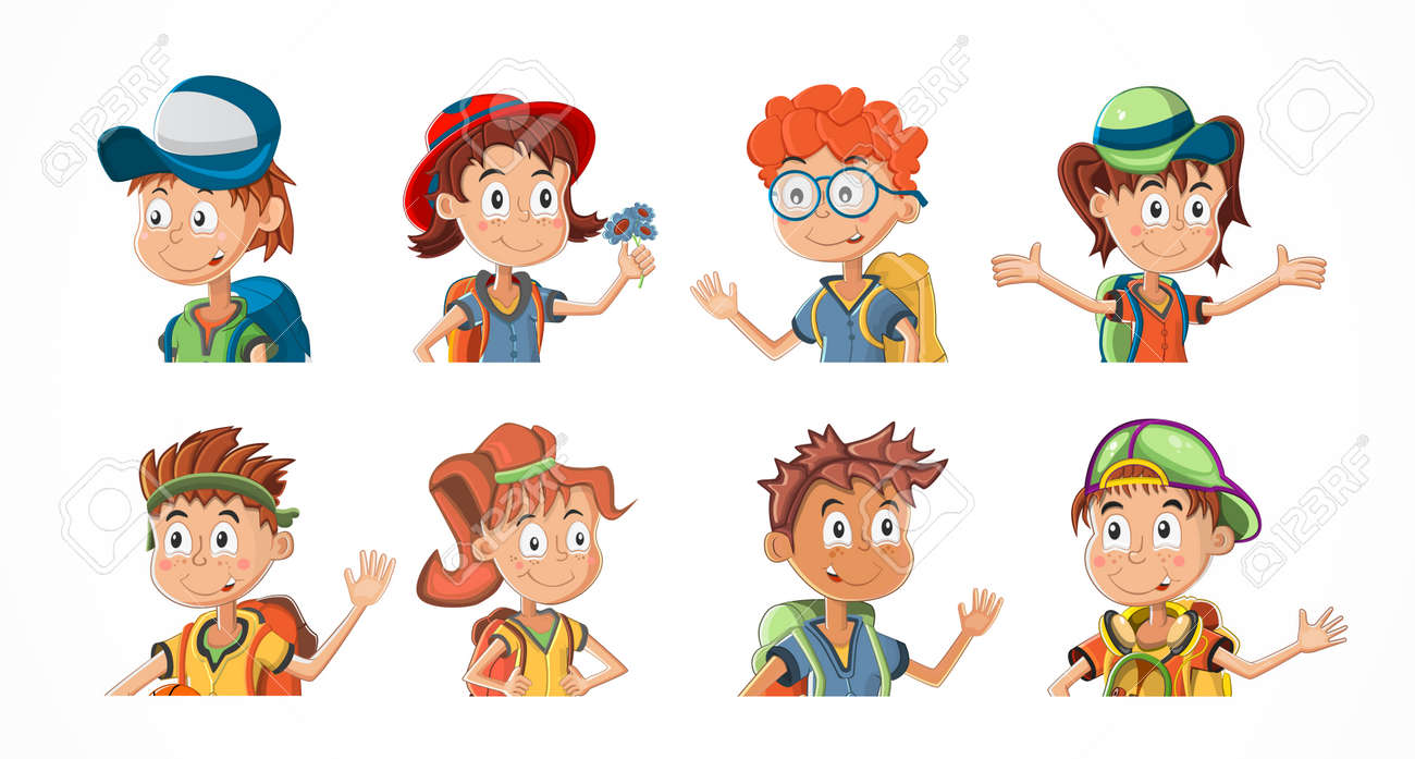 Bundle of cartoon children portraits. Collection of kids avatars with different hairstyle and skin colors. Child expression faces little boys and girls vector illustration - 165807200