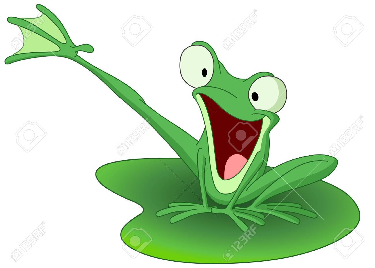 Happy frog on a lily pad Stock Vector - 6126990