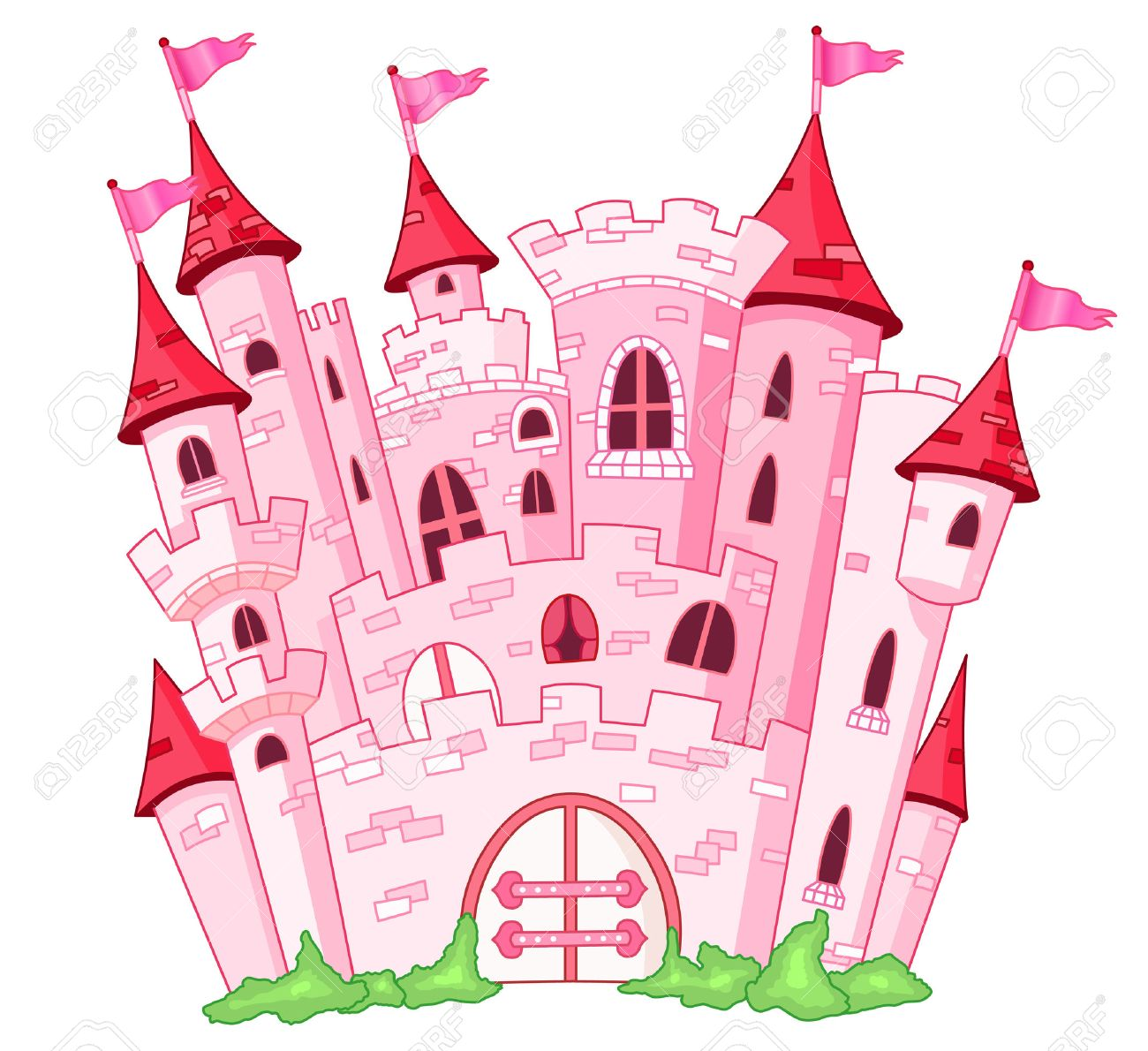 Pink princess castle Stock Vector - 7739604