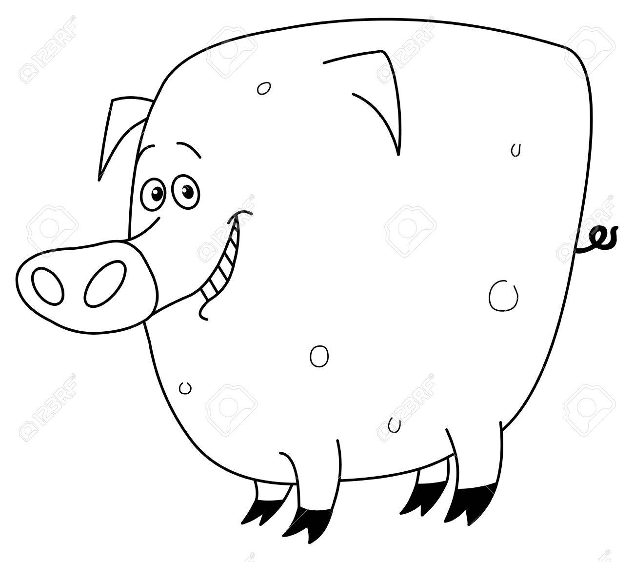 Outlined pig Stock Vector - 7784207