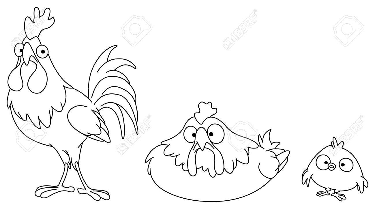 Outlined chicken family Stock Vector - 7784211