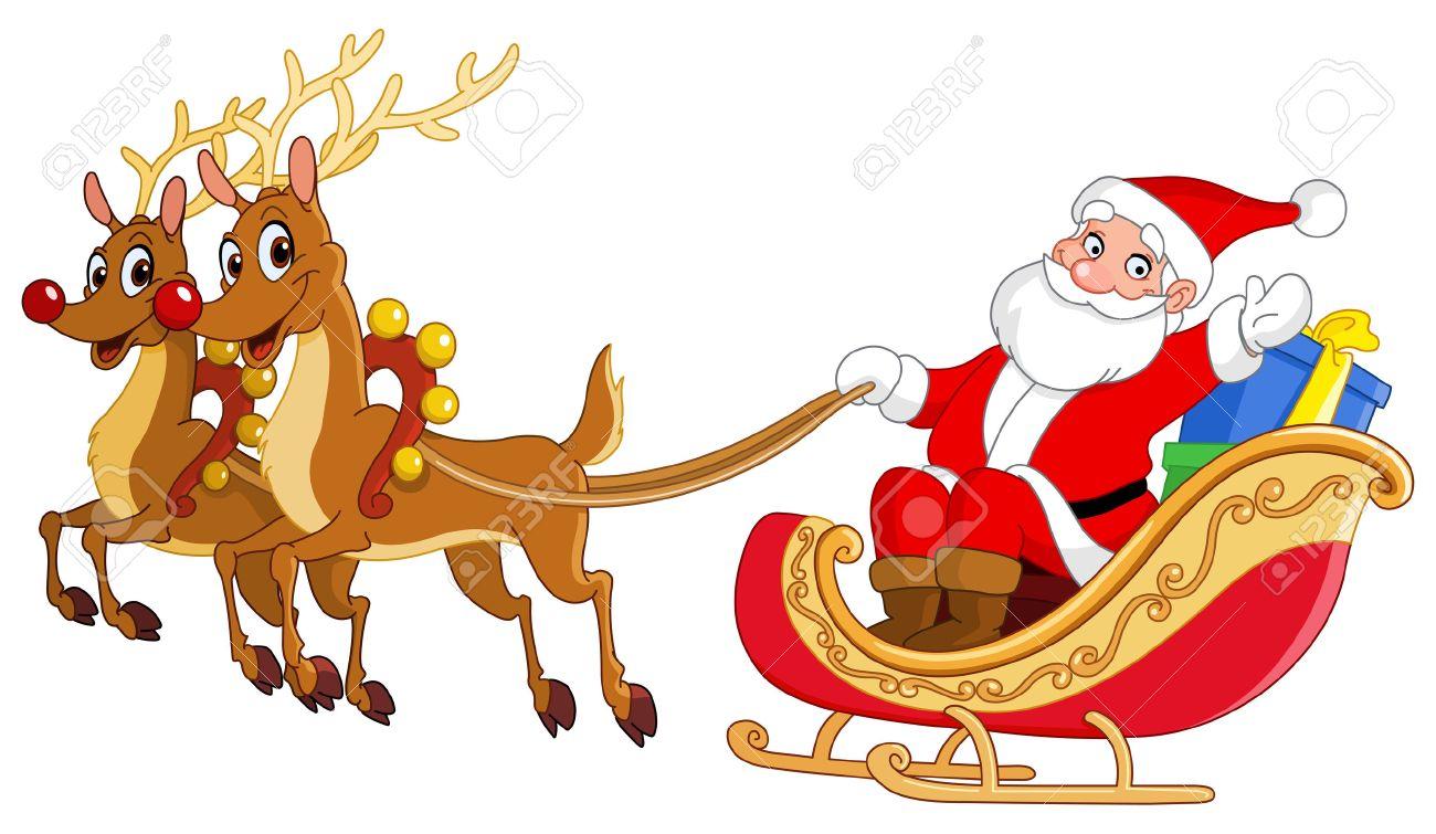 santa riding his sleigh royalty free cliparts vectors and stock