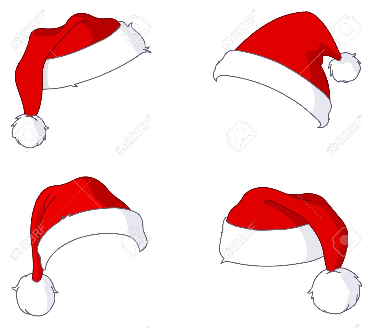 santa hat set royalty free cliparts vectors and stock