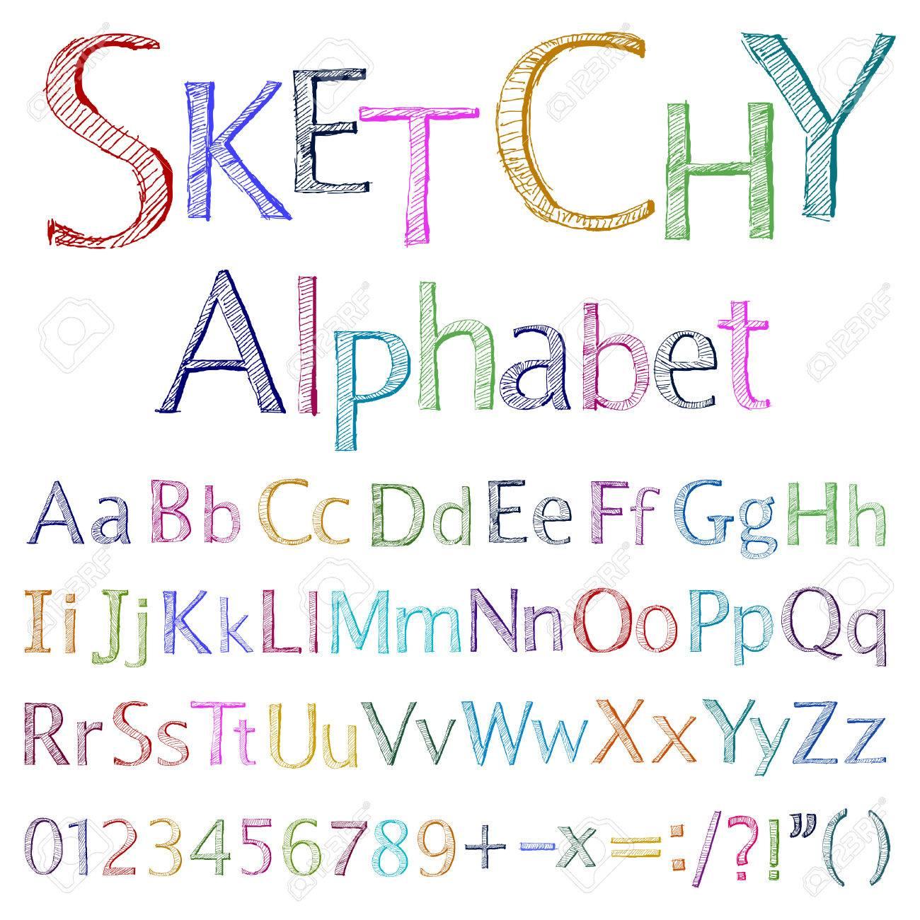 sketchy alphabet Stock Vector - 8640044