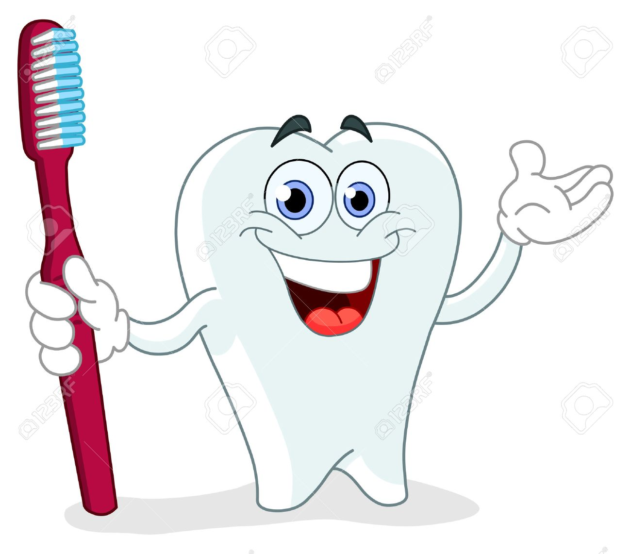 Cartoon tooth holding a toothbrush Stock Vector - 8894921