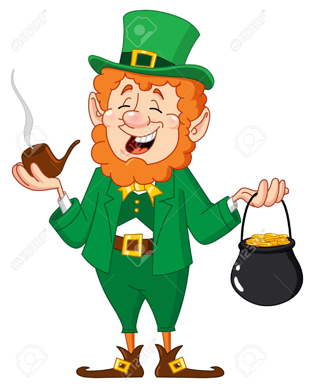 Leprechaun with smoking pipe and gold coin pot Stock Vector - 8920780