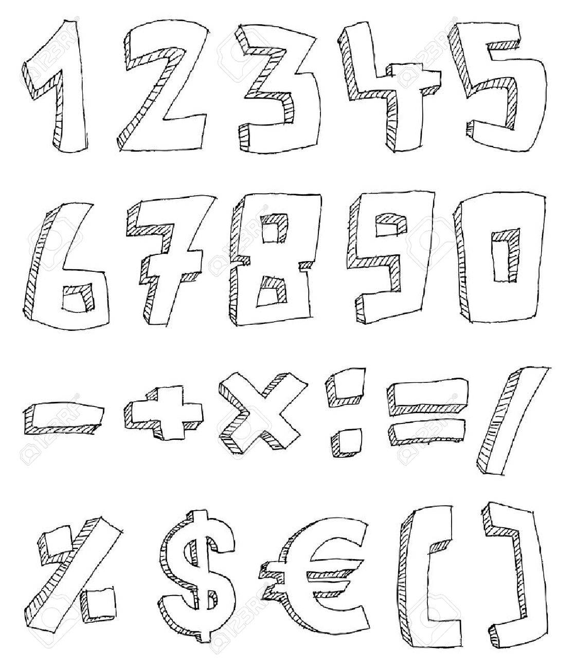 Vector hand drawn numbers and math signs Stock Vector - 8950367
