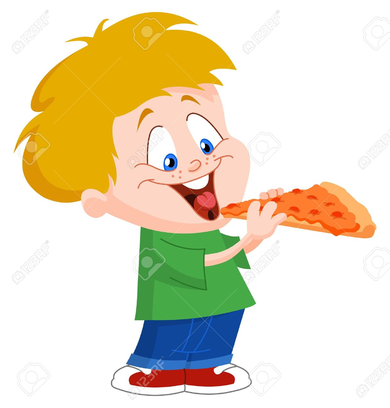 Cute boy eating pizza Stock Vector - 9106700