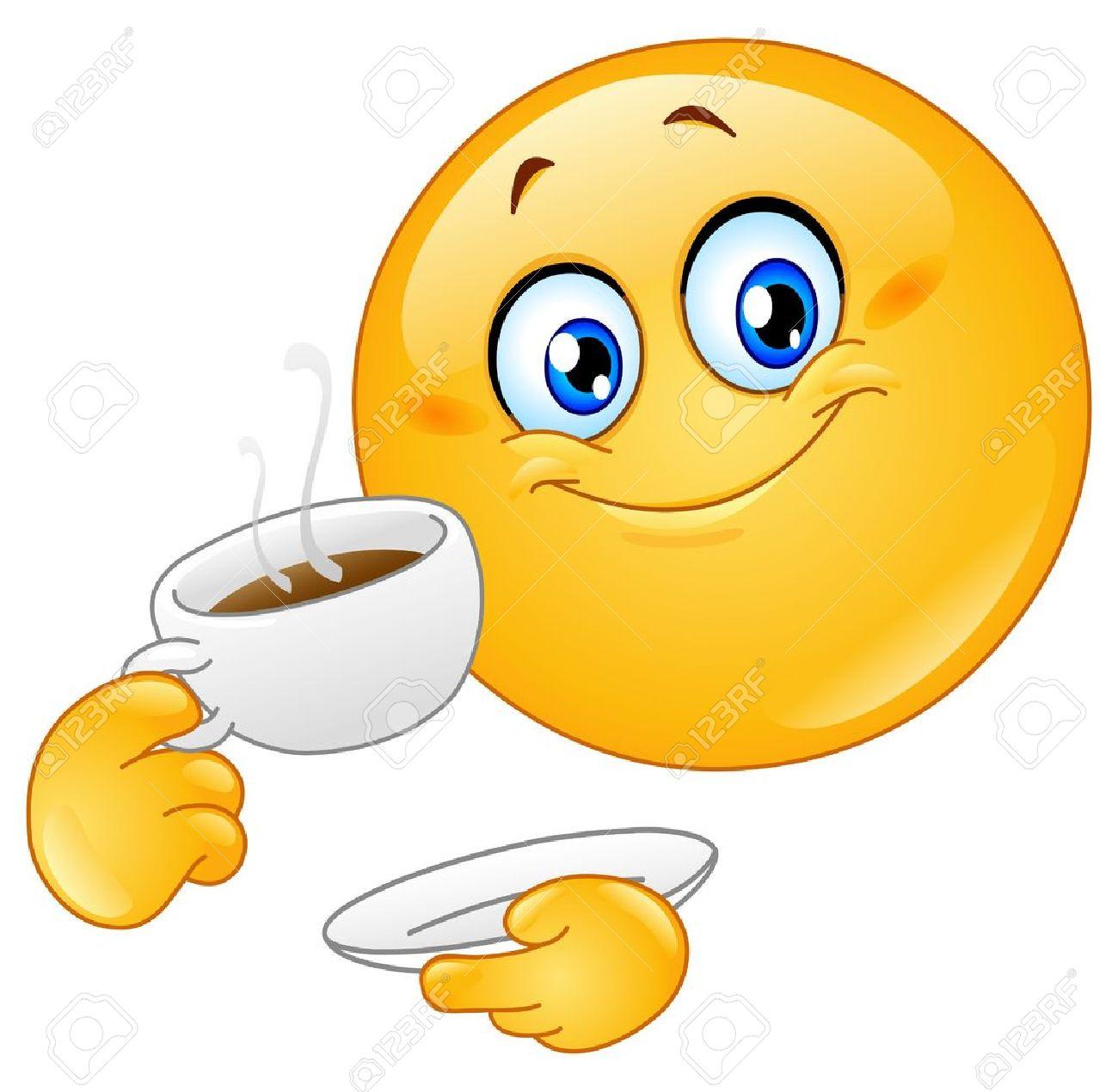 Emoticon drinking coffee Stock Vector - 9217662