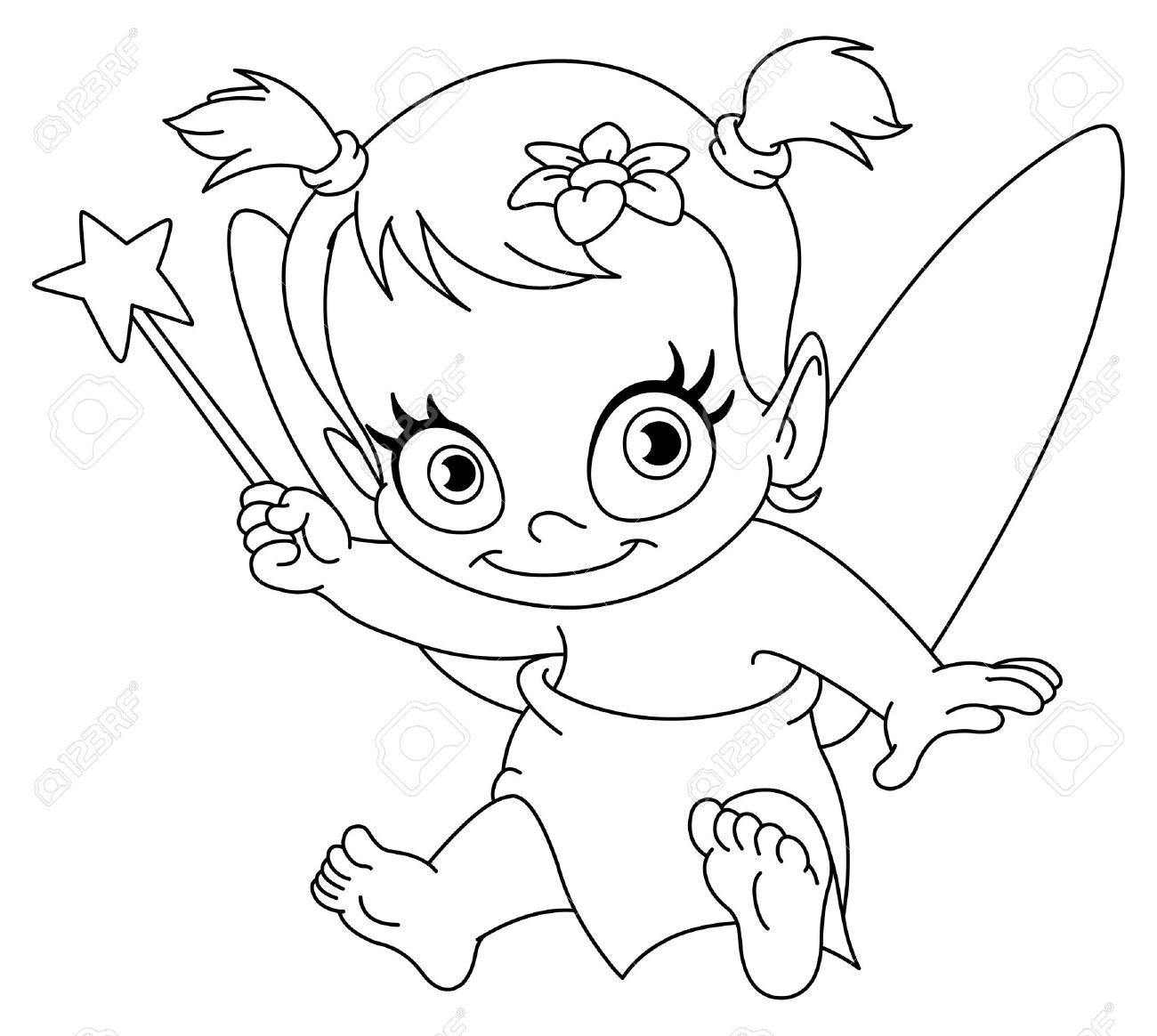 Outlined baby fairy Stock Vector - 10318648